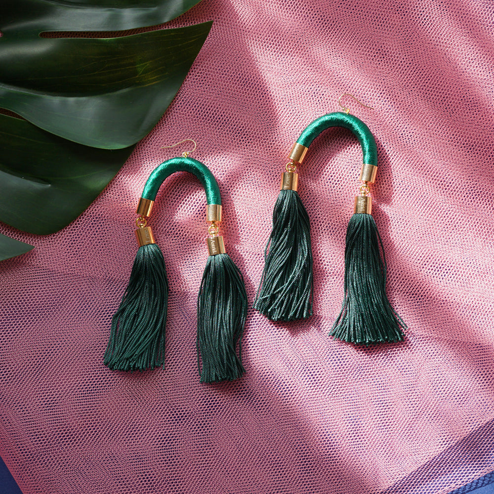 MS. HILL EMERALD GREEN TASSEL EARRINGS