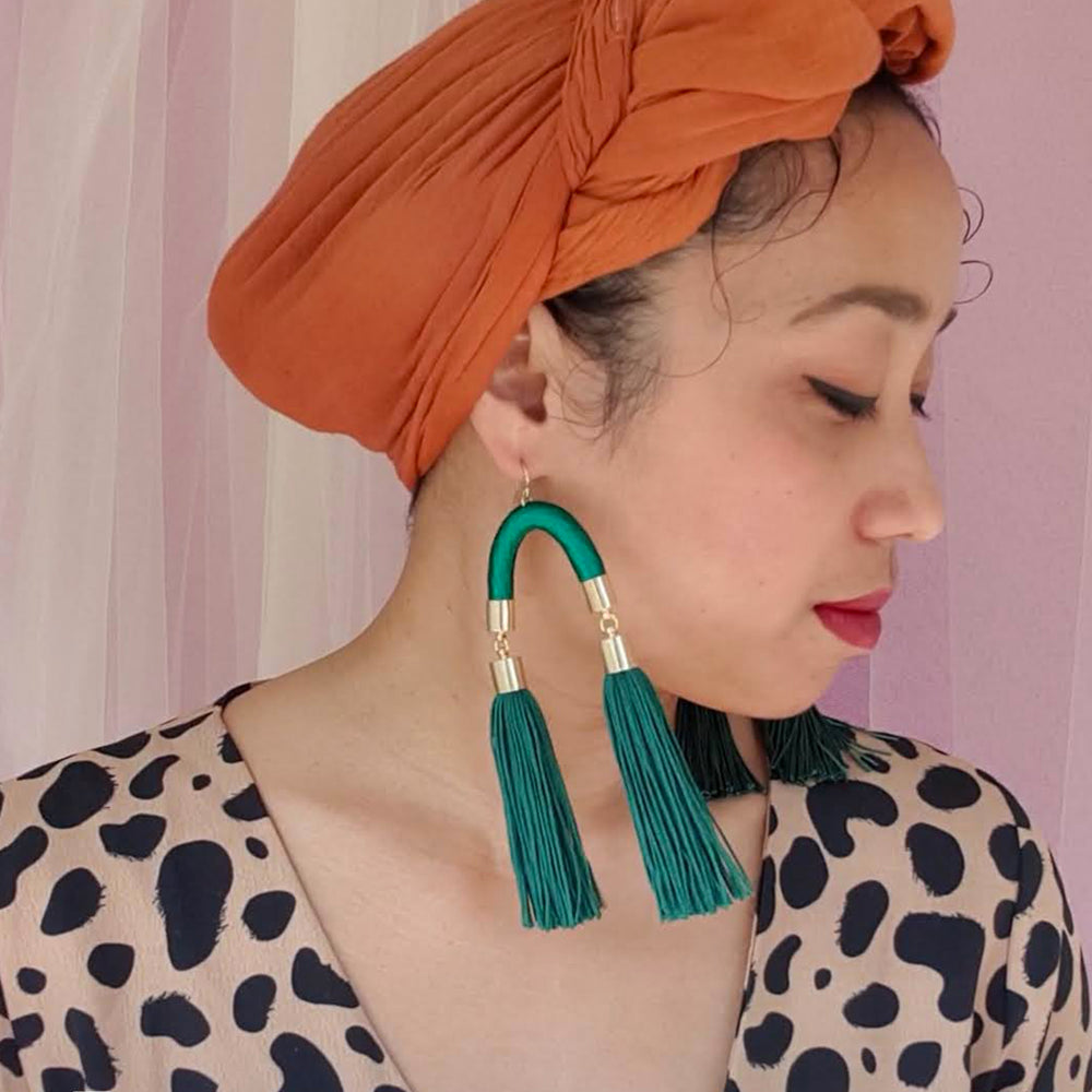 Load image into Gallery viewer, MS. HILL EMERALD GREEN TASSEL EARRINGS