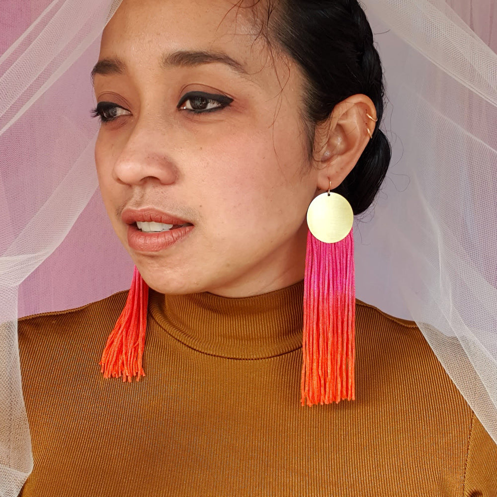 Load image into Gallery viewer, PINK PASSION TASSEL EARRINGS