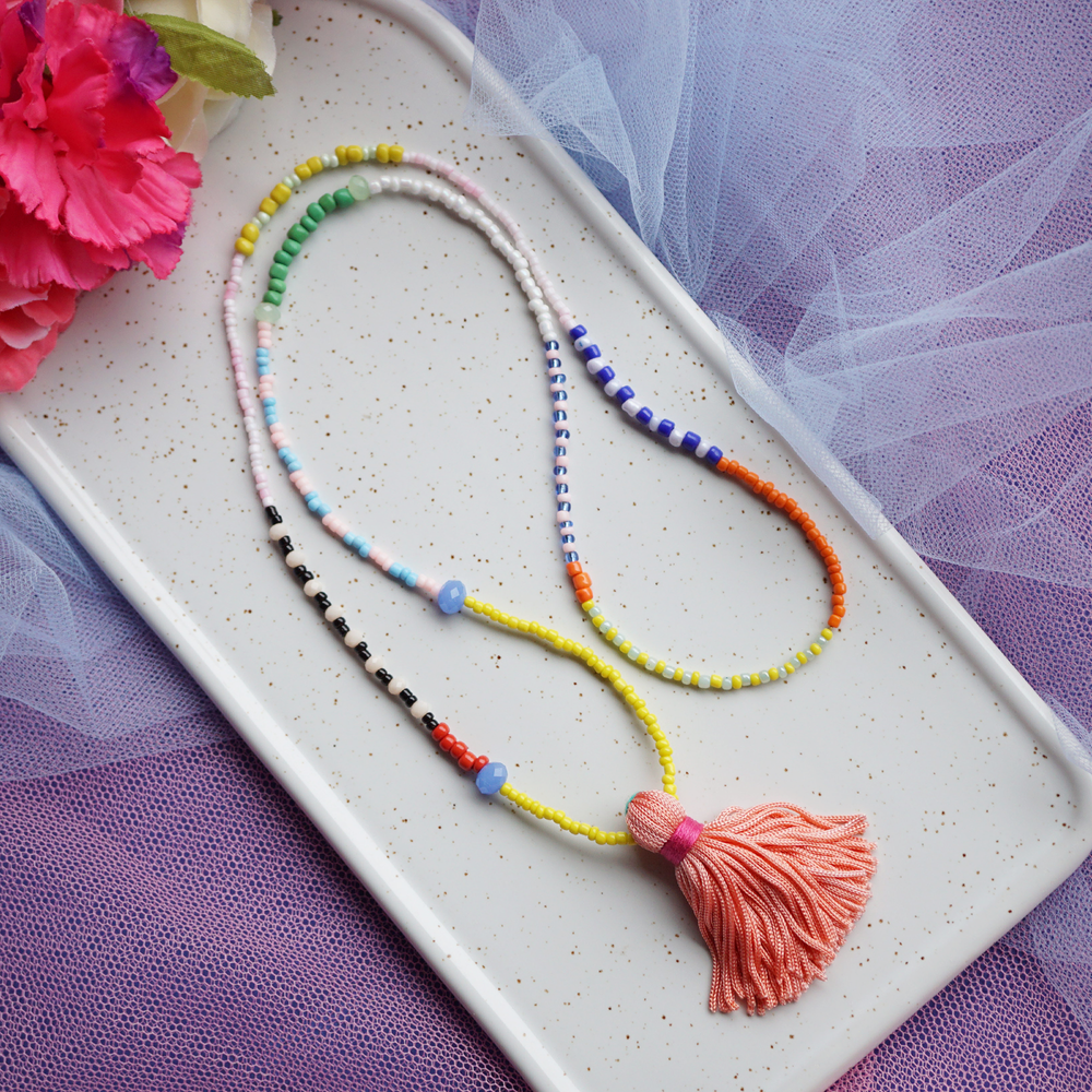 Load image into Gallery viewer, Summer Tassel Necklace one