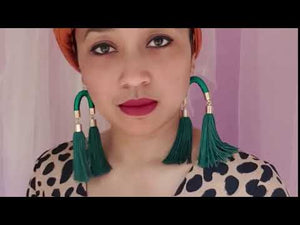 Load and play video in Gallery viewer, MS. HILL EMERALD GREEN TASSEL EARRINGS