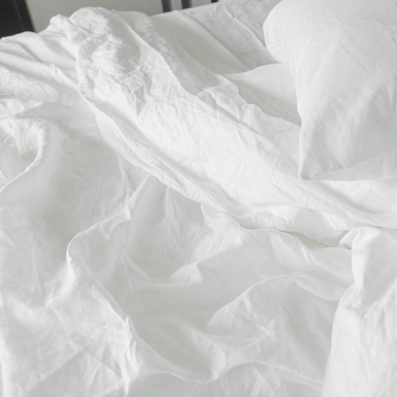 If Only Home French Linen Duvet Cover Snow