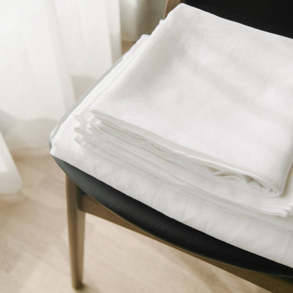 If Only Home French Linen Fitted Sheet Snow