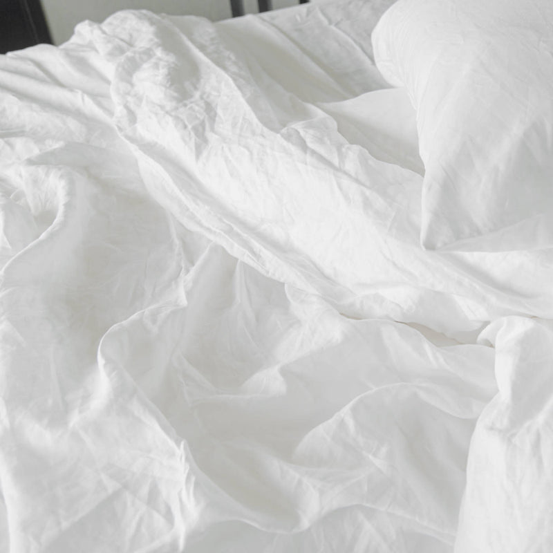 If Only Home French Linen Flat Sheet Snow