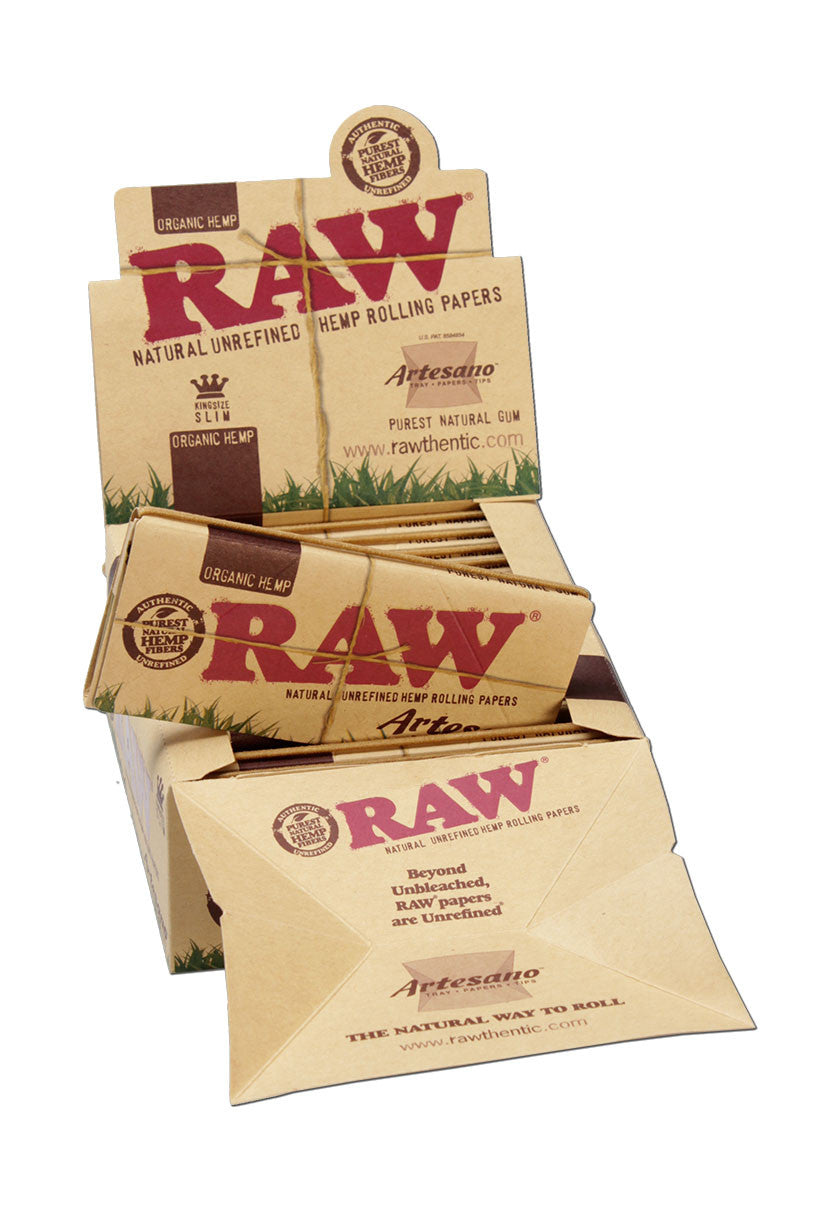 'RAW' 'Artesano' Organic Hemp Papers KS Slim+Tips