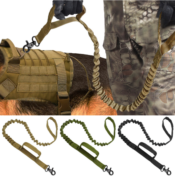 Army Tactical Dog Leash Nylon Bungee Leashes