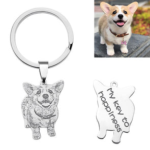 Engraved Pet Photo Keychain