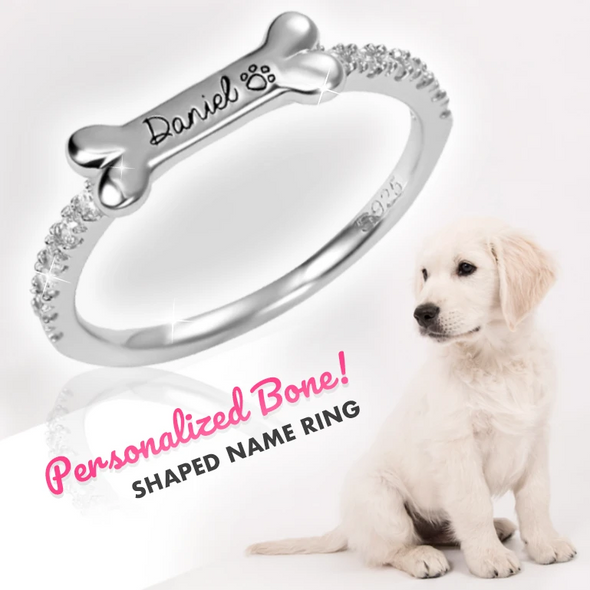 Personalized Bone Shaped Name Ring in Silver