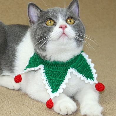 Hand-knitted Pets Christmas Collar Scarf
