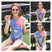 Load image into Gallery viewer, Women's Happy Rainbow Pastel Tie Dye Tee