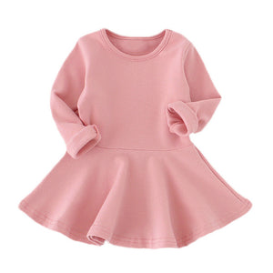 Toddler Girls Spring Candy Color Cotton Dress