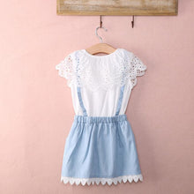 Load image into Gallery viewer, Girls Denim & Lace Skirt Set