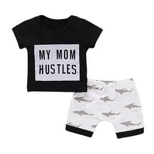 Baby Girls and Boys My Mom Hustles Sharks Set