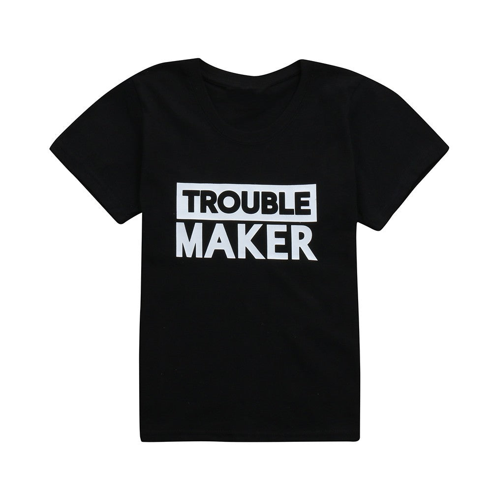 Toddler Boys and Girls Short Sleeve Trouble Maker T-shirt