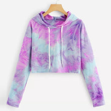 Load image into Gallery viewer, Women's Long Sleeve Tie Dye Drawstring Hoodie