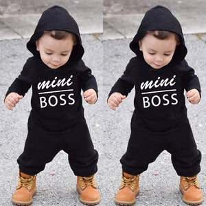 Baby Boys and Girls Mini Boss Hooded Romper