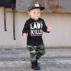 Baby Boys Lady Killer Hooded Sweatshirts+Camouflage Pants Set