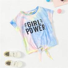 Load image into Gallery viewer, Girl Power Tie Dye Knot Front Tee