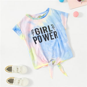 Girl Power Tie Dye Knot Front Tee