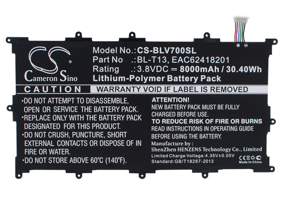 8000mAh / 30.40Wh Battery For LG BL-T13, EAC62418201,