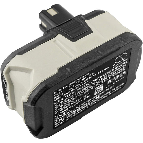 3000mAh Battery For RYOBI BID-1801M, P2060, P208B, P210, P2100, P2102, P2105,