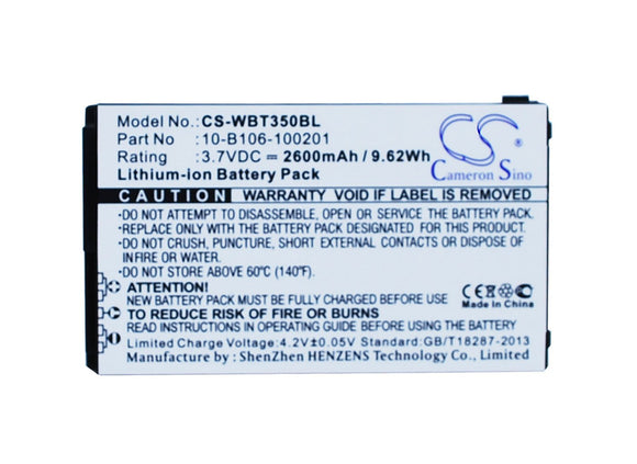 2600mAh / 9.62Wh Battery For WIDEFLY BT350, BT-350, DT350, DT-350,