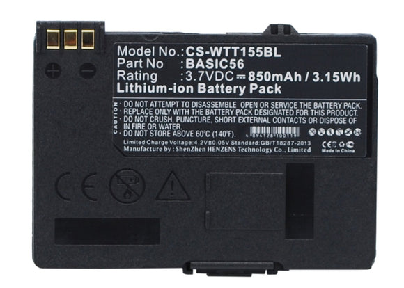 850mAh / 3.15Wh Battery For WAY SYSTEMS BASIC56,