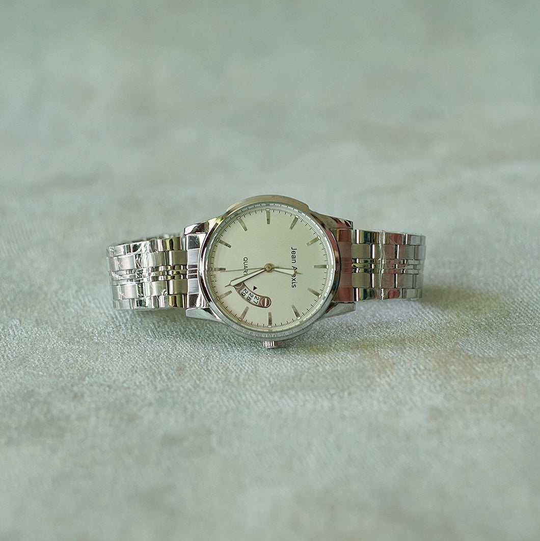 Jean Alexis Luxury Watch GT JA014 White Dial (Man) silver hands.