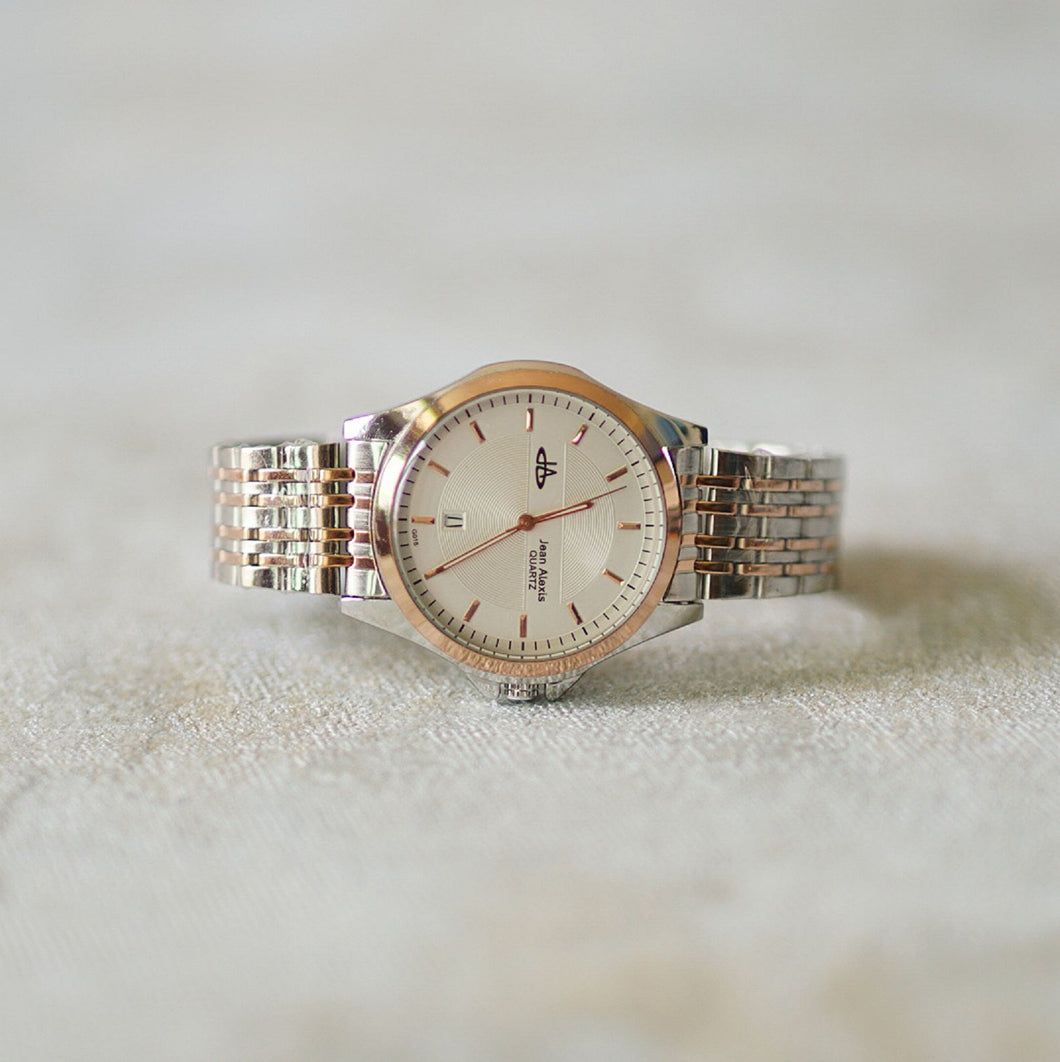 Jean Alexis Luxury Watch GST JA016 White Dial (Man) Rosegold Hands