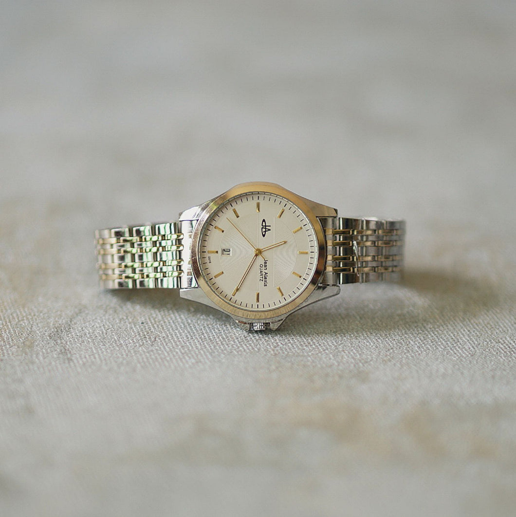 Jean Alexis Luxury Watch GKT JA016 White Dial (Man) Gold Hands