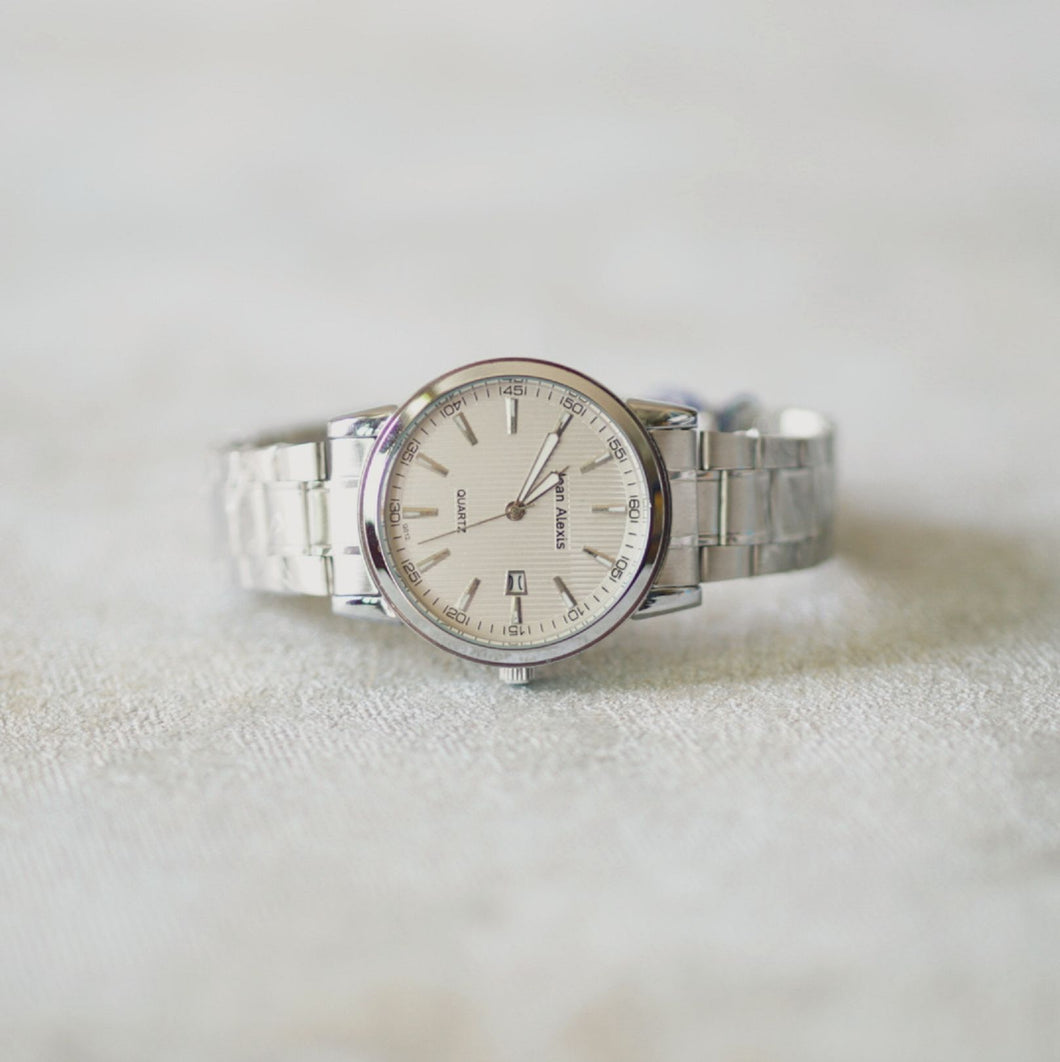 Jean Alexis Luxury Watch GT JA012 White Dial (Man) Silver Hands