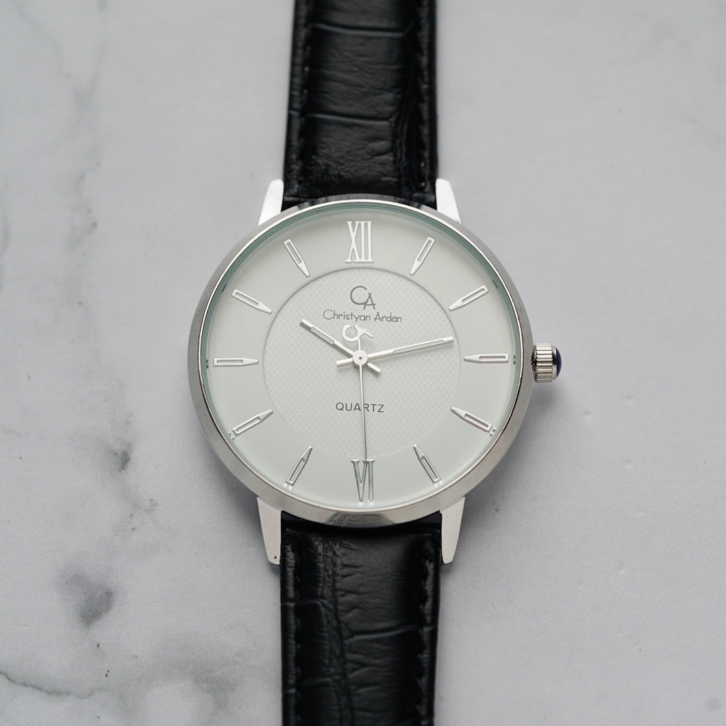 Christyan Arden ADONIS CA-0032 - Around The World Edition - White Dial - Black Full Grain Strap (Pria)