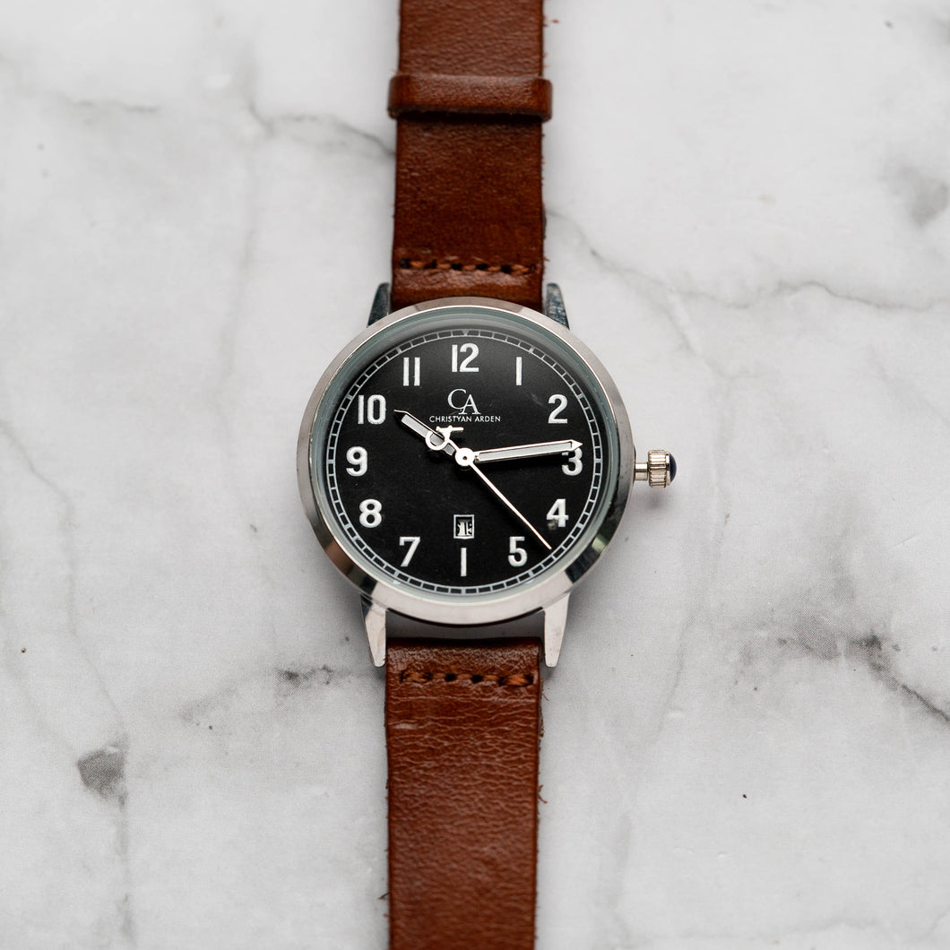 New Christyan Arden BELEN CA3106 - Around The World Edition - Black Dial - Brown Full Grain Strap (Wanita)
