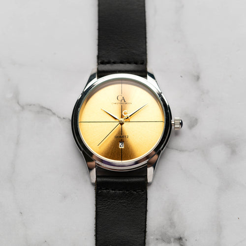 New Christyan Arden ARES CA3110 - Around The World Edition - Gold SunBurst Dial - Black Strap (Pria)