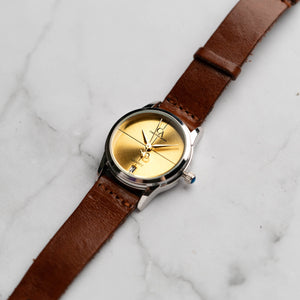 New Christyan Arden ARES CA3110 - Around The World Edition - Gold SunBurst Dial - Brown Strap (Wanita)