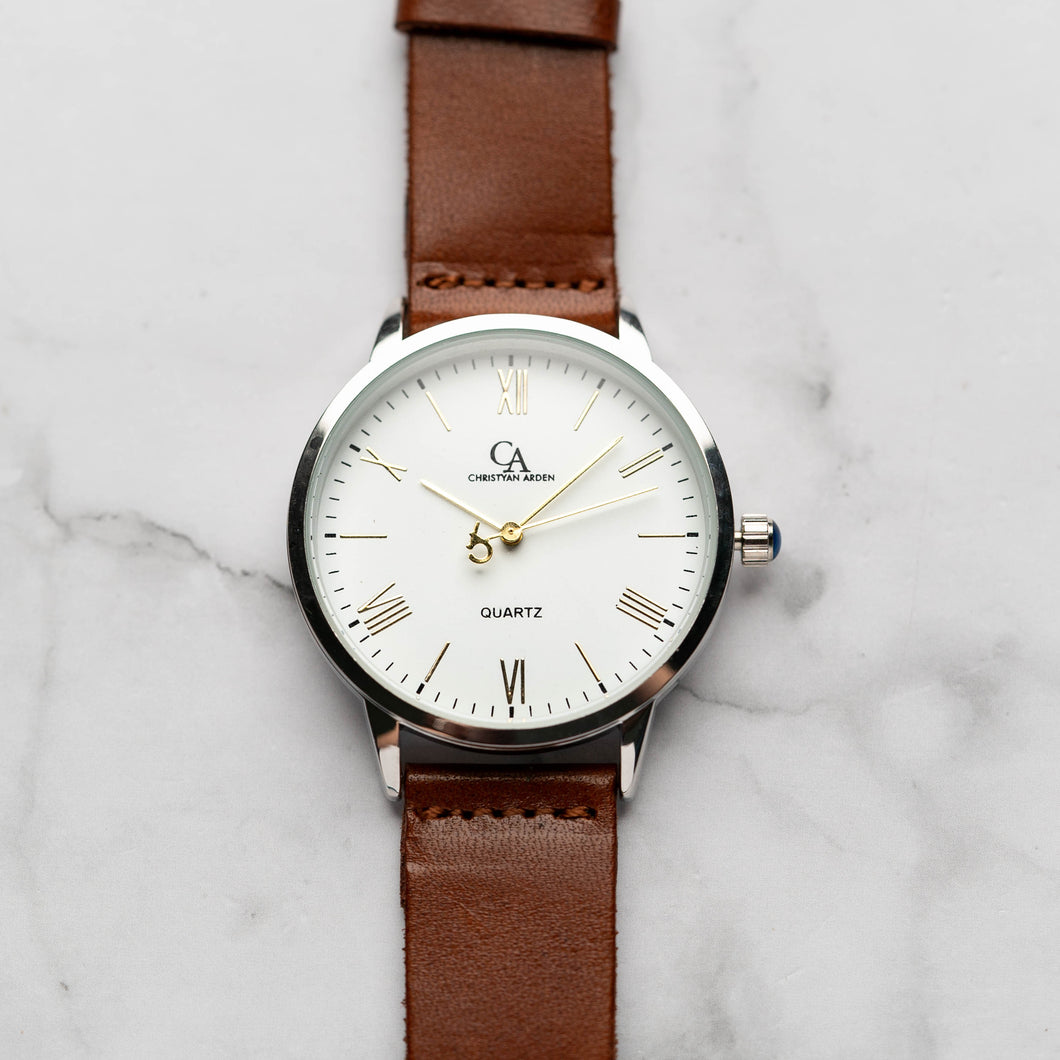 New Christyan Arden CLEO CA3206 - Around The World Edition - White Dial - Brown Full Grain Strap (Pria)