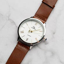 Muat gambar ke penampil Galeri, New Christyan Arden CLEO CA3206 - Around The World Edition - White Dial - Brown Full Grain Strap (Pria)