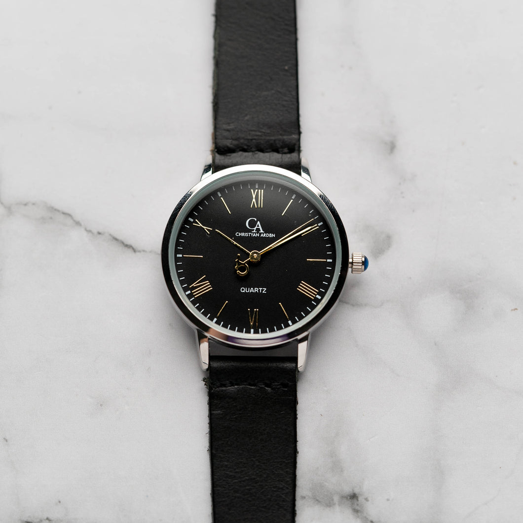 New Christyan Arden CLEO CA3206 - Around The World Edition - Black Dial - Black Full Grain Strap (Wanita)