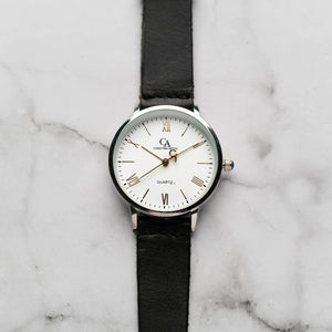 New Christyan Arden CLEO CA3206 - Around The World Edition - White Dial - Black Full Grain Strap (Wanita)