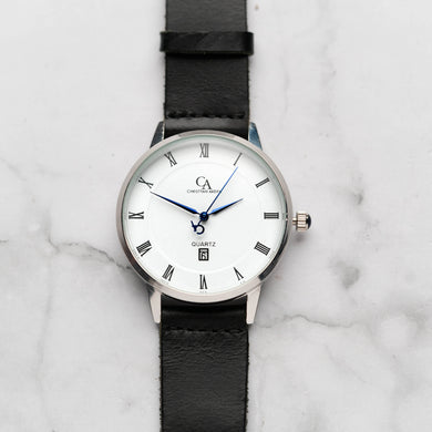 New Christyan Arden VASILIOS CA3107 - Around The World Edition - White Dial - Black Full Grain Strap (Pria)