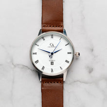 Load image into Gallery viewer, New Christyan Arden VASILIOS CA3107 - Around The World Edition - White Dial - Brown Full Grain Strap (Pria)