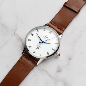 New Christyan Arden VASILIOS CA3107 - Around The World Edition - White Dial - Brown Full Grain Strap (Pria)