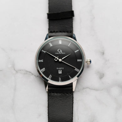New Christyan Arden VASILIOS CA3107 - Around The World Edition - Black Dial - Black Full Grain Strap (Pria)