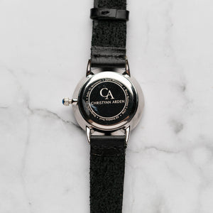New Christyan Arden VASILIOS CA3107 - Around The World Edition - White Dial - Black Full Grain Strap (Wanita)