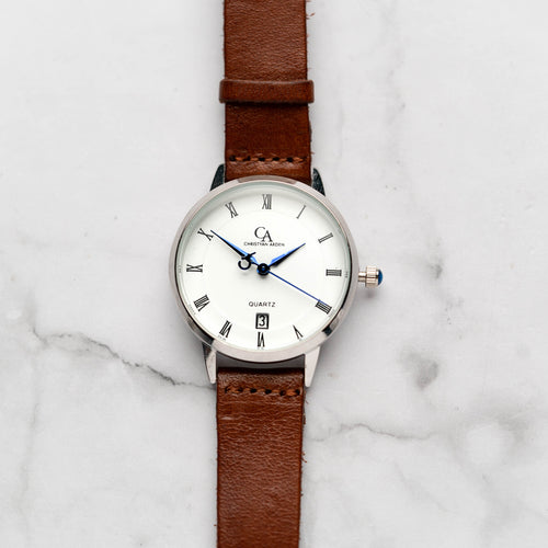 New Christyan Arden VASILIOS CA3107 - Around The World Edition - White Dial - Brown Full Grain Strap (Wanita)