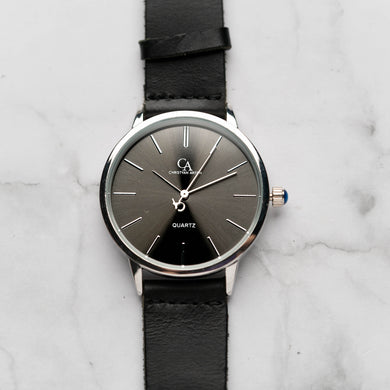 New Christyan Arden LENORE CA3207 - Around The World Edition - Grey Sunburst Dial - Black Full Grain Strap (Pria)