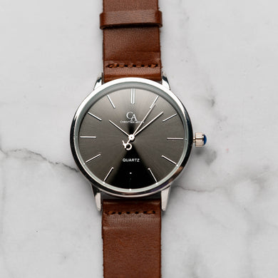 New Christyan Arden LENORE CA3207 - Around The World Edition - Grey Sunburst Dial - Brown Full Grain Strap (Pria)