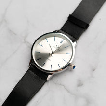 Load image into Gallery viewer, New Christyan Arden LENORE CA3207 - Around The World Edition - Silver Sunburst Dial - Black Full Grain Strap (Pria)