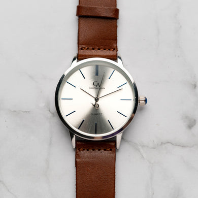 New Christyan Arden LENORE CA3207 - Around The World Edition - Silver Sunburst Dial - Brown Full Grain Strap (Pria)
