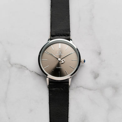 New Christyan Arden LENORE CA3207 - Around The World Edition - Grey Sunburst Dial - Black Full Grain Strap (Wanita)